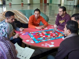 Volunteers play a game